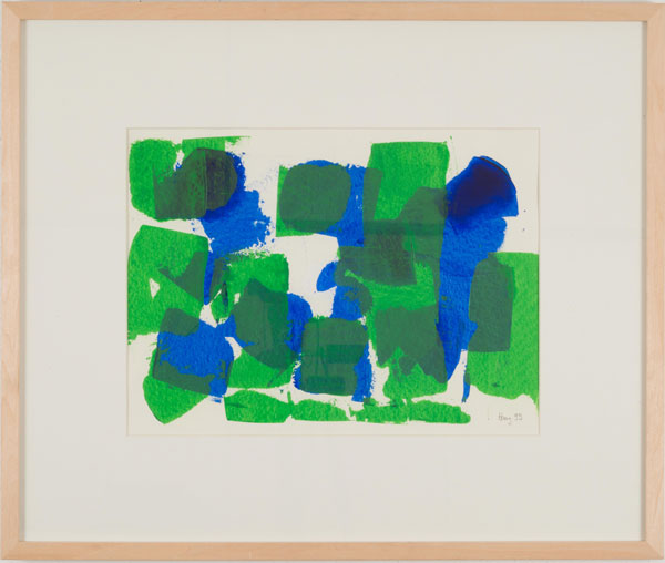 Green and Blue... Acrylic on paper with frame 50 x 60 cm