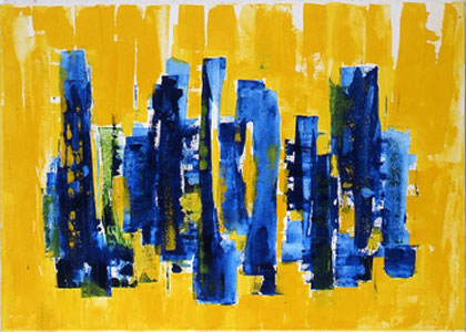 Elements ot the city and the landscape Acrylic on nettle 50 x 70 cm