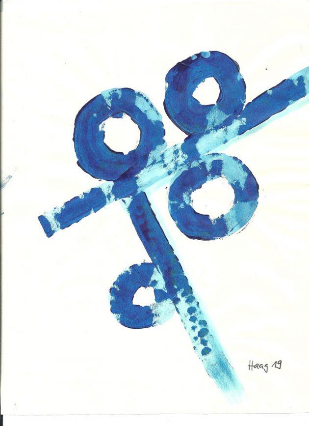 Fragile Bewegung Acryl auf Papier 32 x 26 cm mit weissem Rahmen