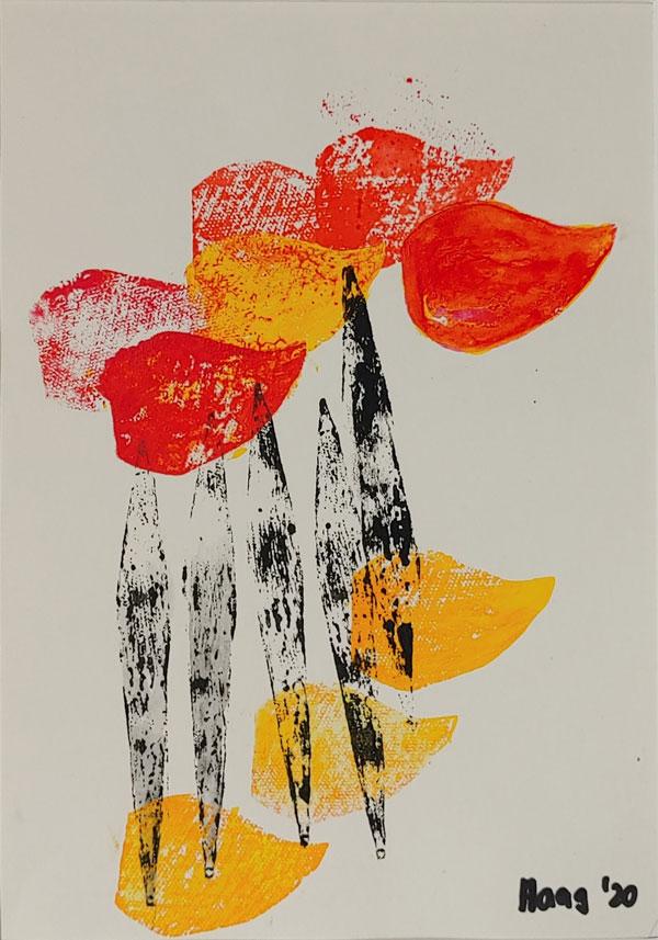 Fröhlicher Tag, Acryl auf Papier, 40 x 30 cm mit Rahmen