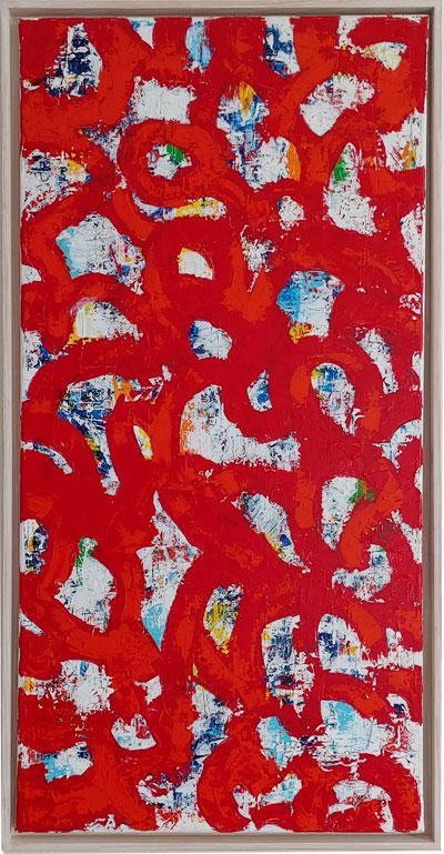 Rote Durchblicke Acryl auf Leinwand mit Schattenfuge, 100 x 70 cm