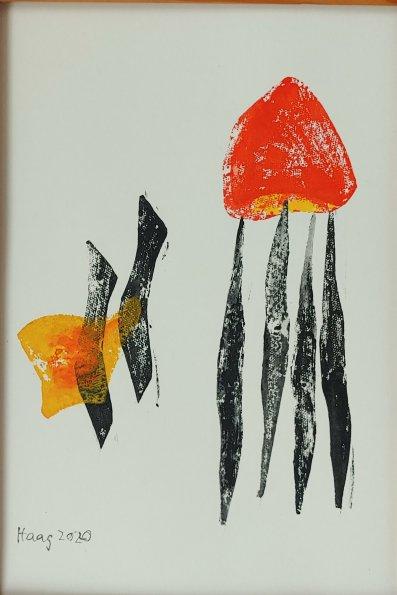 Im Gleichgewicht, Acryl auf Papier, mit Passpartotu und Rahmen 40 x 30 cm
