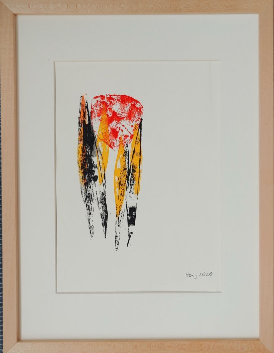 balance II, 2020, Acrylic on paper, with frame and passepartout 40 x 30 cm