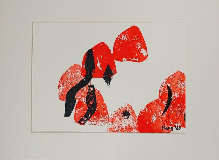 o.T., 2020, Acryl auf Papier, mit Passepartout und Rahmen 40 x 30 cm
