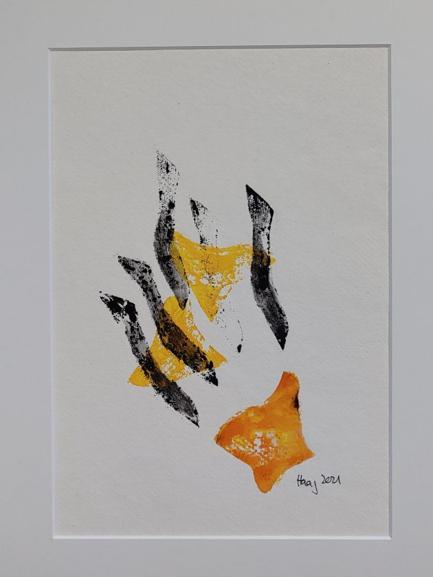 upswing, 2021, Acrylic on paper,with frame and passepartout 40 x 30 cm, 180,--€